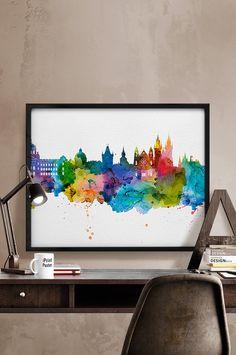 Prague skyline poster watercolor Prague Art Print by iPrintPoster