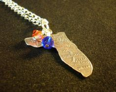 Florida Gators Map Sterling Silver Orange and Blue Charm Pendant