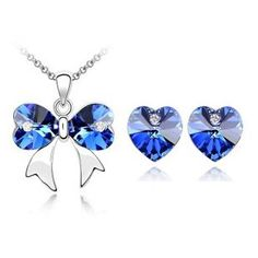 18K gold plated crystal ornaments Austrian crystal butterfly necklaces & pendants Heart Earrings  $19.95.