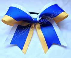 Royal Blue Yellow/Gold White Cheer Bow 190465816 by TheBowForce