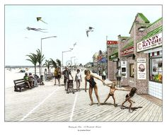 Summer in Maryland as enjoyed in the carnival atmosphere on the Boardwalk in Ocean City. A perfect gift or home decor piece for the Marylander, the coastal resident, or anyone who's vacationed in Ocea