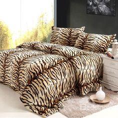 New Arrival High Quality Super Soft Coral Fleece Tiger Print 4 Piece Bedding Sets/Duvet Cover Sets
