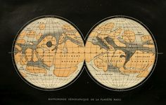 """nemfrog: """" A map of Mars purporting to show the planet's oceans and land masses. Constellations, Planet Map, Celestial Map, Postcard Book, Arts Integration, Life On Mars, Kawaii Stationery, Map Design, The Martian"""