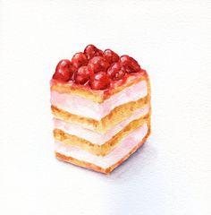 Raspberry Cake  - ORIGINAL Painting (Desset Illustration, Still Life, Watercolour Food Wall Art)