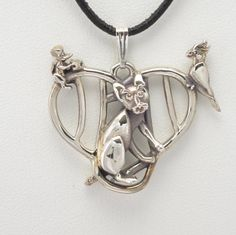"Sterling Silver Cat Pendant w/18"" Sterling Chain by Donna Pizarro fr Animal Whimsey Collection of Fine Cat Jewelry"