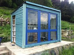pallet framing with recycled lumber exterior. This would be a really sweet art studio/playhouse for the backyard.