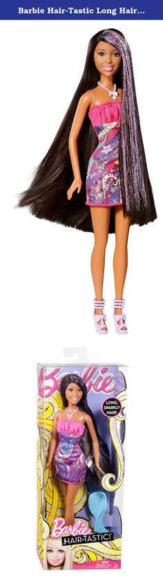 Barbie Hair-Tastic Long Hair African-American Doll. Barbie Hair-Tastic Long Hair African-American Doll: The Barbie Hair-tastic Long Hair doll has ultra-long hair with shimmer-shine highlights. Her thick, luxurious hair reaches below her waist and has super-glitter purple streaks. A stylish brush and fashionable outfit help keep her looking fabulous. Includes doll and styling brush. The Barbie Hair-Tastic Long Hair African-American Doll makes the perfect birthday gift. Features include…