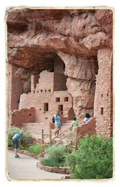 Manitou Cliff Dwellings - Colorado Springs, CO. The Anasazi built large, multi-story stone structures with hundreds of rooms to house the new communities on open ground. - Manitou Cliff Dwellings Post Office Box 272 Manitou Springs, CO 80829 Colorado Springs, Le Colorado, Road Trip To Colorado, Cortez Colorado, Pueblo Colorado, Colorado Mountains, Rocky Mountains, Oh The Places You'll Go, Places To Travel