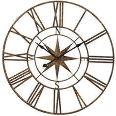 Nautical Gold Compass Clock ($170) ❤ liked on Polyvore featuring home, home decor, clocks, nautical theme home decor, gold clock, battery powered clock, roman numeral clock and gold home accessories