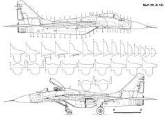 Caza de la federacion rusa Mikoyan Gurenevich Mig 29 Airplane Sketch, Airplane Drawing, Airplane Design, Aero Modelo, Fighter Aircraft, Fighter Jets, Rc Plane Plans, Jet Engine, Aircraft Design