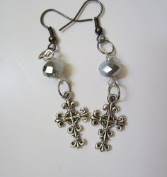 White & Silver Crystal Beads and Silver Cross Charm Earrings via Etsy