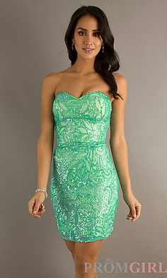 Short Aqua Strapless Sequin Dress by Scala at PromGirl.com 158$ size 0 in stock