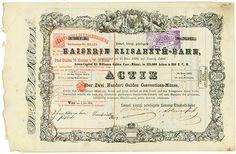 Kaiserl. königl. privilegirte Kaiserin Elisabeth-Bahn Wien, 01.07.1856, Aktie über 200 Gulden Conventions-Münze, später auf 5 Gulden 75 Kreuzer Ö. W. umgestempelt, #73547, 23,6 x 36,5 cm, schwarz, weiß, DB, Rückseite geklebt, dekorativ.