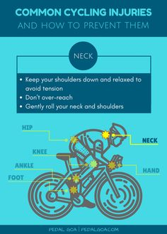CYCLING TIP: Gently roll your neck and shoulders now and then while on your bike ride or while stopped at an intersection to help prevent those areas from becoming too tense. Common cycling injuries: How to prevent neck pain.