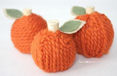 DIY Yarn Pumpkins (or apples!)