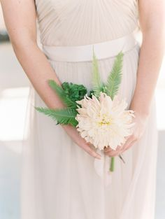 Bridesmaid with Single Flower Bouquet | photography by http://www.lisaodwyer.com                                                                                                                                                                                 More