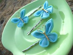 Turquoise Butterfly Pins by Bright Wish Kanzashi, via Flickr