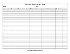 This medical appointment log can be kept for personal records of a family's illnesses and procedures. Free to download and print