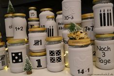 Advent calendar DIY idea made of glasses with free advent calendar numbers for you .- Advent calendar DIY idea made of glasses with free advent calendar numbers for you Advent Calendar DIY Idea made of glasses with free advent calendar numbers for you ⋆ Advent Calendar Diy, L Elf, Calendrier Diy, Calendar Numbers, Diy Box, Halloween Diy, Diy Tutorial, Diy Gifts, Christmas Time