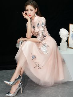 Pink Embroidered Tulle Qipao / Cheongsam Party Dress
