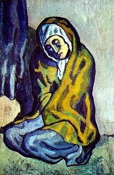 Pablo Picasso, La Misereuse accroupie (The Crouching Beggar). Oil on canvas. Art Gallery of Ontario, Toronto. Anonymous gift, © Picasso Estate / SODRAC At 100 Masters: Only in Canada at the Smallwood Kerfoot Art Gallery, May 11 - Aug Kunst Picasso, Art Picasso, Picasso Blue, Picasso Paintings, Picasso Portraits, Acrylic Paintings, Oil Paintings, Landscape Paintings, Henri Rousseau