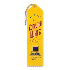 "Pack of 6 Yellow Computer Whiz Award"" School Award Ribbon Bookmarks 8"""