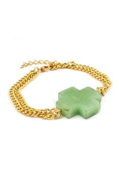 Simple Cross Bracelet in Jade