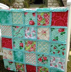 Crib Rag Quilt Aqua Red Roses Teal Green Baby Quilt by CottageDome