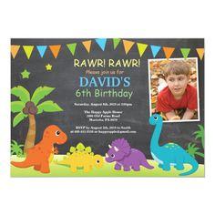 Chalkboard Dinosaur Birthday Invitation Dino Party