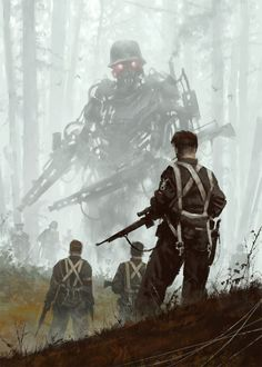 "The Polish artist Jakub Rozalski, who goes by the sobriquet ""Mr. Werewolf,"" has produced an amusing series of steampunk-ish canvases in which serene and idyllic rustic landscapes of what seem to be Eastern Europe (Rozalski's very back yard, you might say) Diesel Punk, Arte Robot, Arte Horror, Sci Fi Art, Cyberpunk, Character Art, Science Fiction, Fantasy Art, Concept Art"