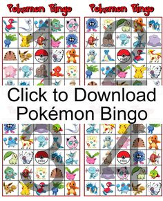 Do your kids love Pokémon? Download and print this free Pokemon Bingo game for them to play. It's perfect for a Pokemon Birthday Party.