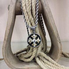 Black & Goldtone Cross Necklace & Earring Set
