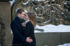 #Central Park #engagement #photography #New York City #Bethesda Terrace #kiss #couple #winter #snow Photo by Angelica Roberts Photography copyright www.angelicaroberts.com
