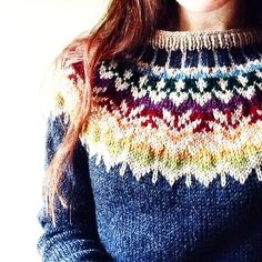 Free knitting parrern for Afmæli - anniversary sweater pattern by Védís Jónsdóttir. It looks quite different depending on your colour choices - look at the photos on Ravelry to see what I mean. Fair Isle Knitting Patterns, Fair Isle Pattern, Sweater Knitting Patterns, Knit Patterns, Free Knitting, Knitting Sweaters, Ravelry Free Patterns, Mode Crochet, Knit Crochet