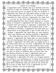 Letter of Encouragement to a Teacher.