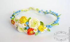 Купить Веночек на голову с полевыми цветами - веночек, цветы из полимерной глины, венок из цветов