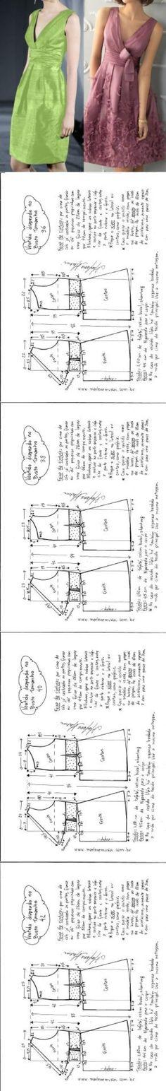 """Résultat de recherche d'images pour """"vestidos con busto drapeado MOLDE"""""""