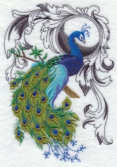 Flourish Peacock Embroidered Cotton Terry Kitchen or Hand Towel | VelvetHearts - Housewares on ArtFire