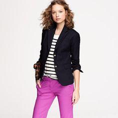 Navy or black blazer + b top + cord skinnies
