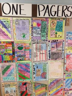 Inquiry- One pagers posted on the bulletin board.