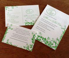Savannah, our floral letterpress #wedding #invitation design is fantastic for weddings of all years.   | Invitations by Ajalon | http://invitationsbyajalon.com/