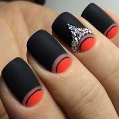 Accurate nails, Beautiful black nails, Beautiful new year's nail, Birthday nails, Evening nails by gel polish, Moon on the nails, Nail art stripes, Nails with rhinestones ideas