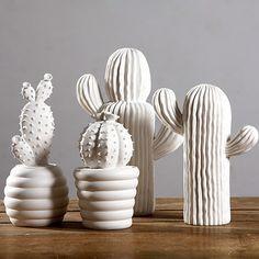 Cactus white ceramic ornaments creative home decorations modern minimalist living room furnishings