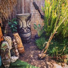 "https://flic.kr/p/uAPWiN | Doing some yard work and I asked Alene, ""hey, what if I plant this Palm tree at an angle like it fell over in a hurricane?"" Alene says, ""cool!"" Can't wait for it to start growing up so its curved. It's angled towards my tiki shack. #tiki #tikibackyard #ti"