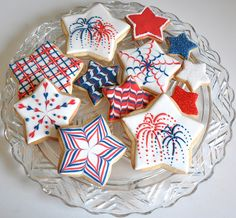 of July (USA Independence Day) Cookies by Kelley Hart Custom Cookies (cookie decorating party shape) Star Cookies, Fancy Cookies, Iced Cookies, Cut Out Cookies, Cute Cookies, Royal Icing Cookies, Cookies Et Biscuits, Cupcake Cookies, Cupcakes