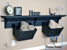 DIY Shelf with Storage {tutorial} | So You Think You're Crafty -- Pretty sure that every room in my house could use one of these.
