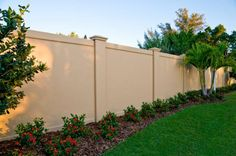 Concrete block or Precast Concrete Fence Walls for the United States by Permacast from Sarasota, Florida - Modern Design Concrete Fence Wall, Concrete Block Walls, Cinder Block Walls, Brick Fence, Precast Concrete, Concrete Backyard, Cinder Blocks, Brick Wall, Backyard Fences