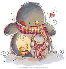 Winter Warmth by Rachelle Anne Miller Carlson Prado Stuff UK UK Pinguin Illustration, Illustration Mignonne, Children's Book Illustration, Christmas Drawing, Christmas Art, Cute Images, Cute Pictures, Art Mignon, Penguin Love
