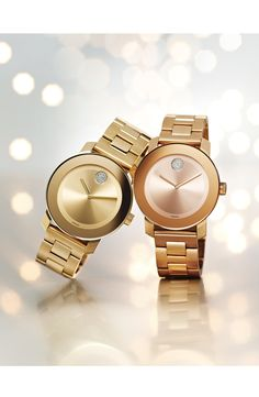 Love these-modern watches paired with sleek, dual-finished bracelets.
