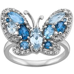 Blue Topaz & Created White Sapphire Butterfly Ring in Sterling Silver (1.636.235 IDR) ❤ liked on Polyvore featuring jewelry, rings, blue, band jewelry, butterfly ring, blue ring, sterling silver butterfly jewelry and blue jewelry